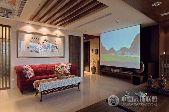 69平米中式禅风两室一厅中式客厅装修图片