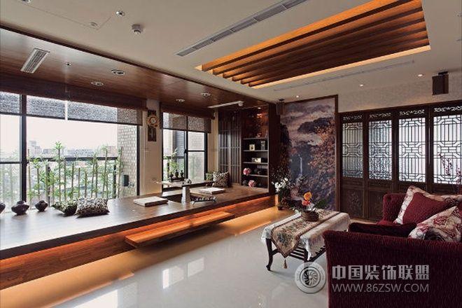 装修效果图 中式装修效果图 69平米中式禅风两室一厅  类型:家装 风格