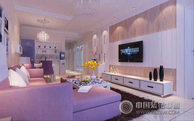 90平两室两厅装修 柔和清雅淡紫色家居-客厅装修图片   > 90
