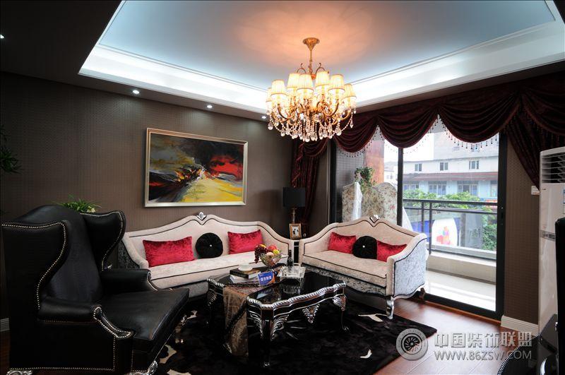 城南一号黑白搭配时尚风格 客厅装修效果图 八六 中国 装