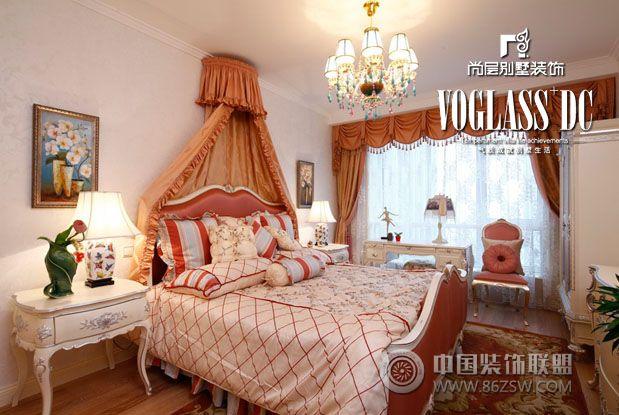 成都尚层装饰别墅装修欧式中式风格案例混搭卧室装修