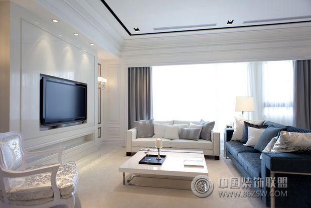 简欧风格样板房设计 明亮宽敞的住宅欧式客厅装修图片