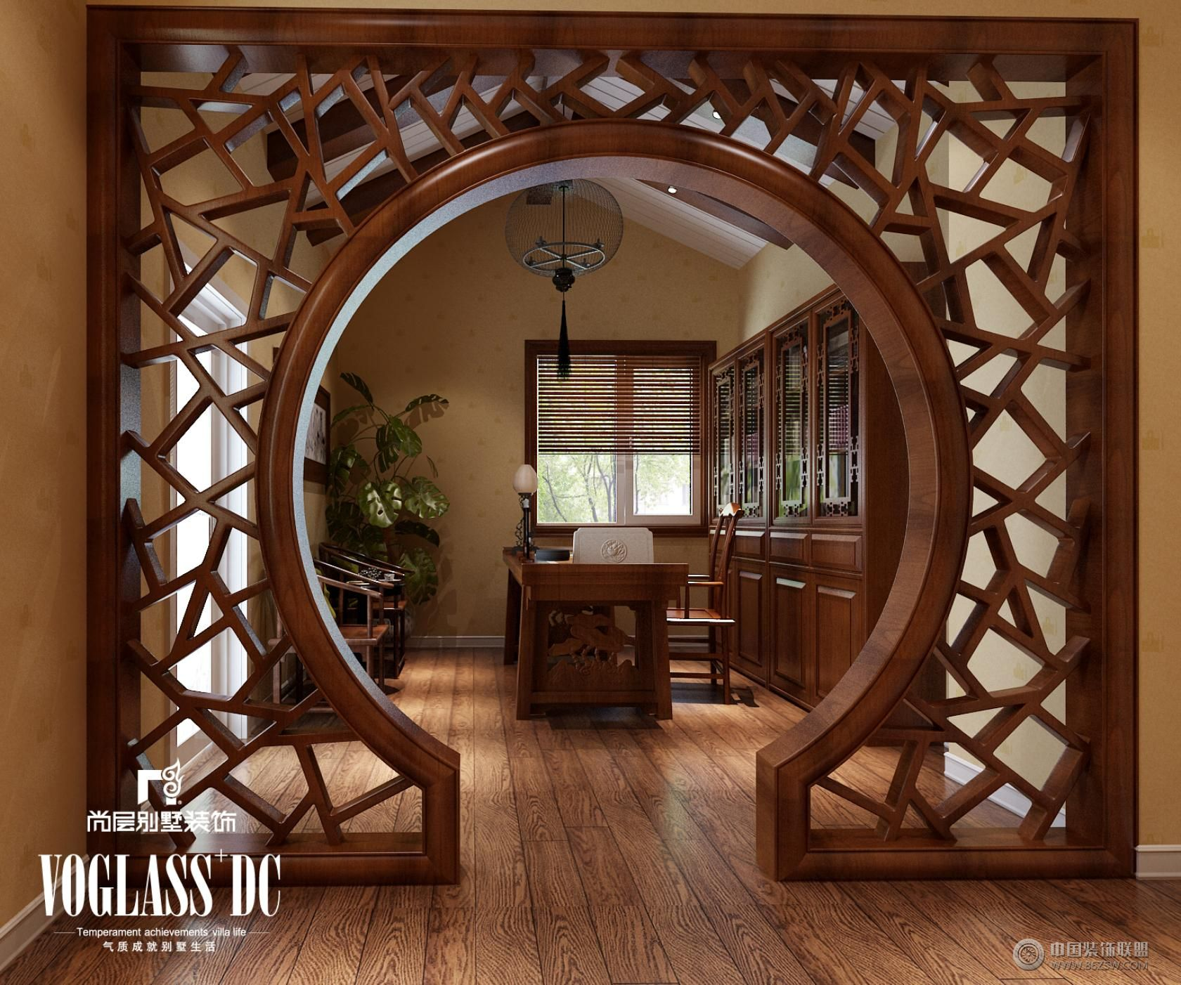 成都尚层装饰别墅装修中式风格效果图-书房装修效果
