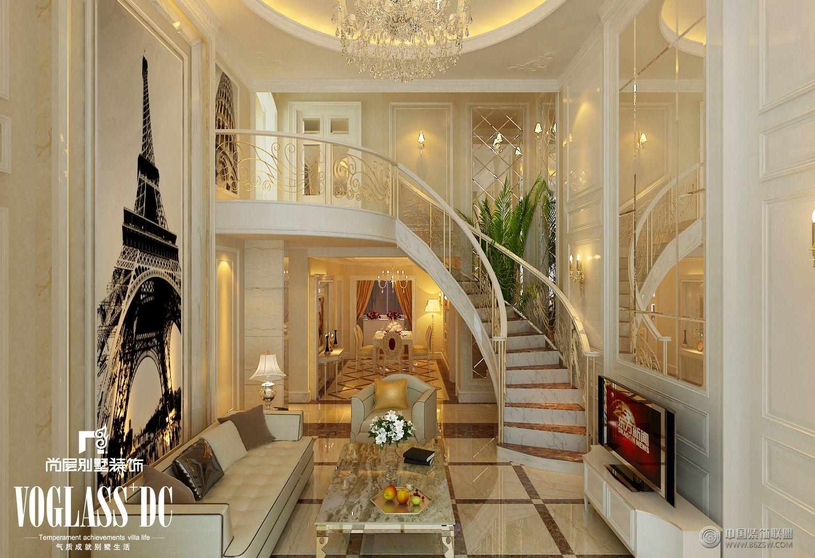 客厅装修效果图 成都尚层装饰别墅装修欧式风格实景案例 【单张】