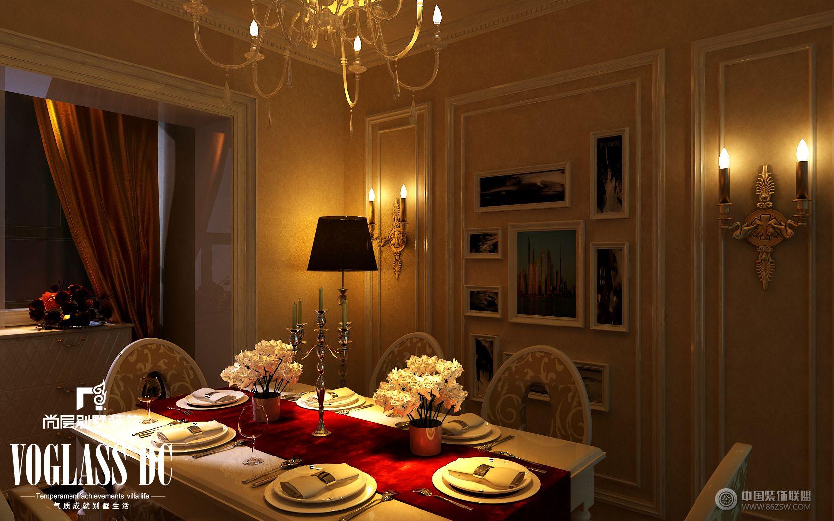 成都尚层装饰别墅装修欧式风格实景案例-餐厅装修图片
