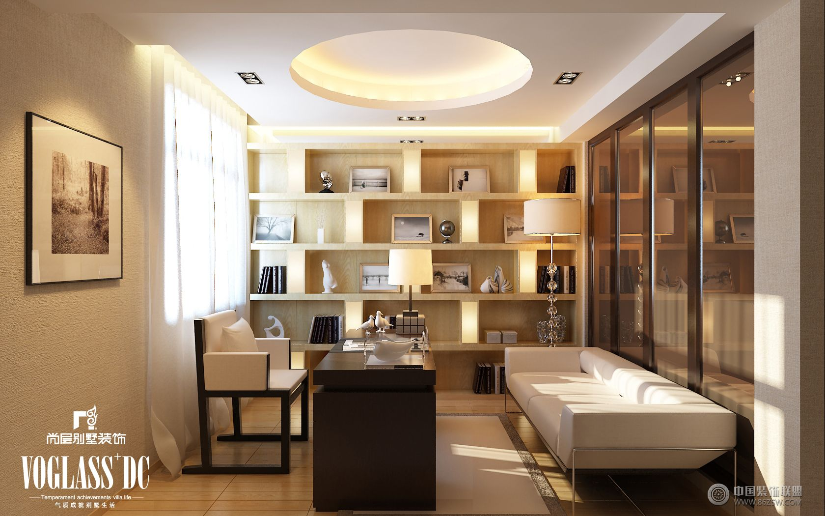 成都尚层装饰别墅装修后现代风格(三)现代书房装修图