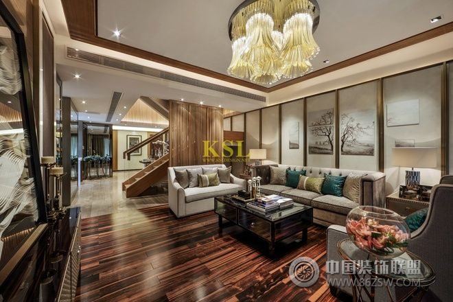 惠州央筑花园洋房样板房中式客厅装修图片