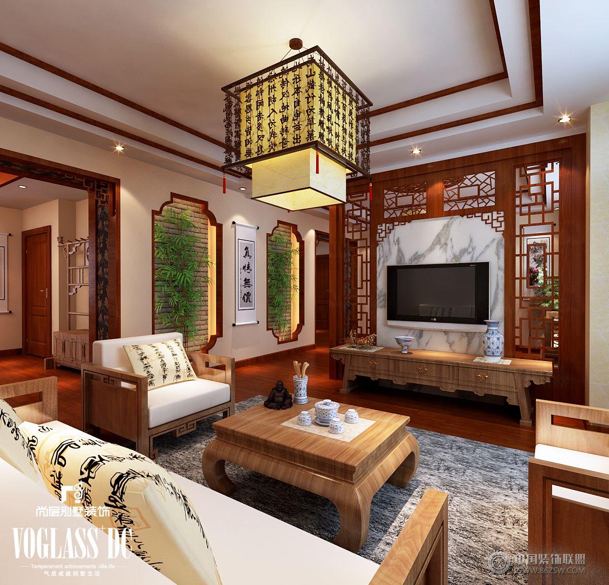 成都尚層裝飾別墅裝修新中式風格案例(五)-客廳裝修圖片