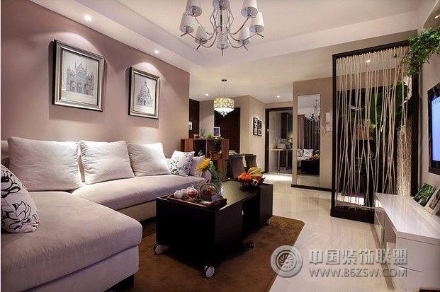 80平现代简约时尚婚房现代客厅装修图片