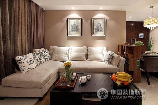80平现代简约时尚婚房客厅装修图片