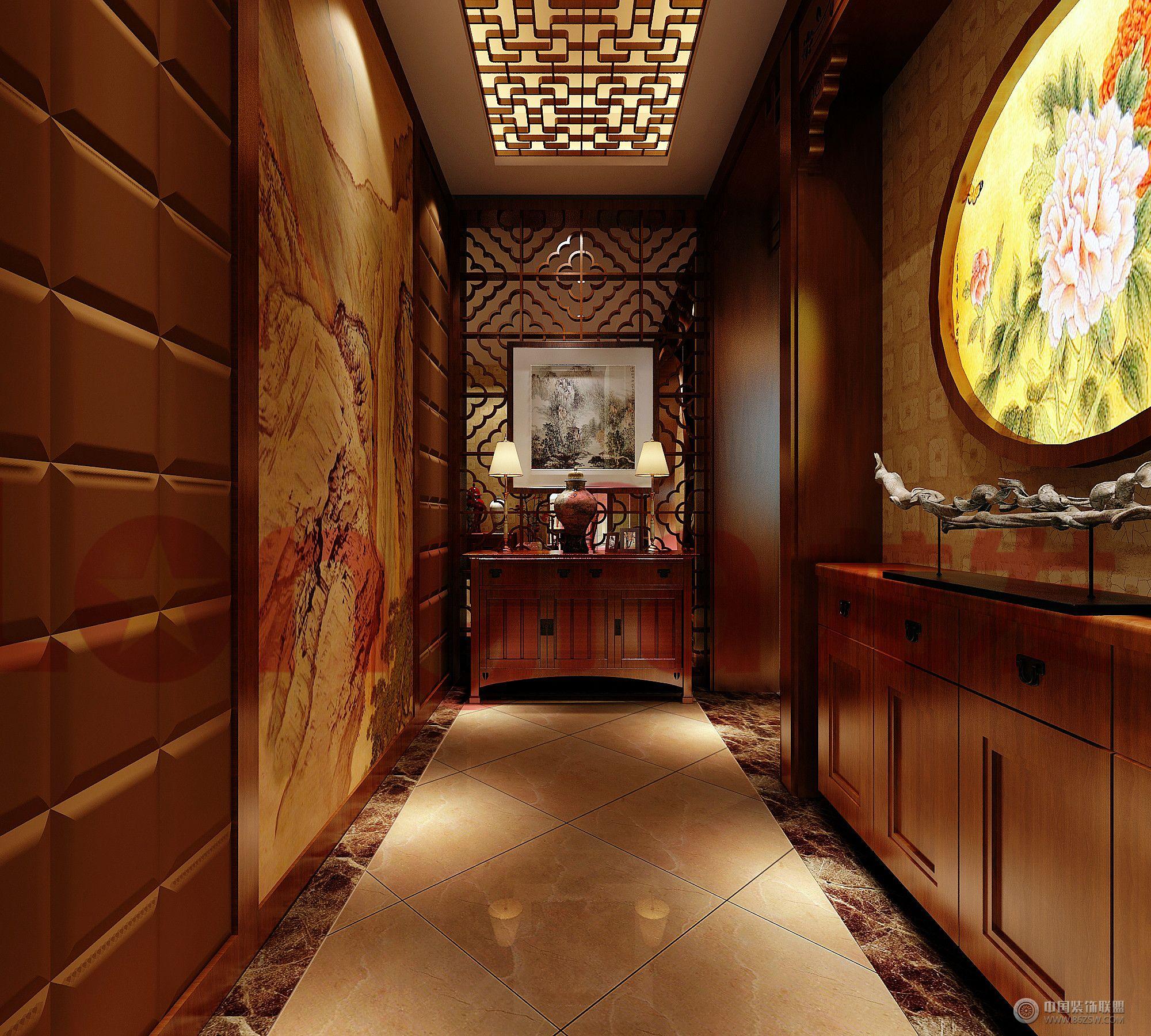 龙发装饰别墅中式案例 过道装修效果图 八六 中国 装饰联盟装修效果图高清图片