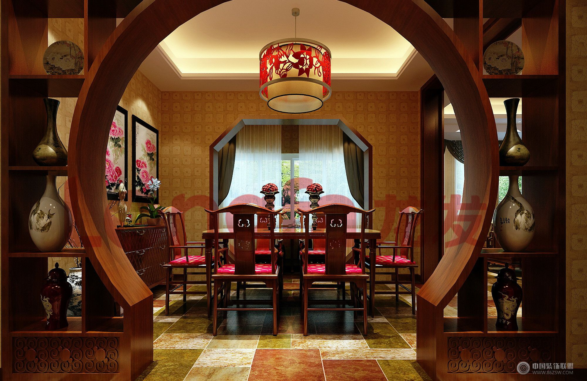 龙发装饰别墅中式案例-客厅装修图片