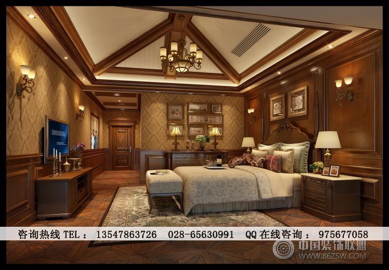 中粮御岭湾美式别墅装修-卧室装修效果图-八六(中国)