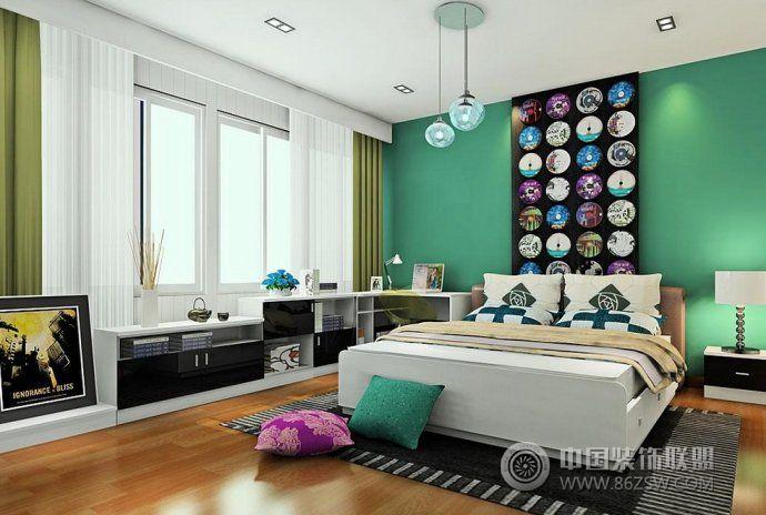 时尚大气的卧室样板间-阳台装修效果图-八六装饰网