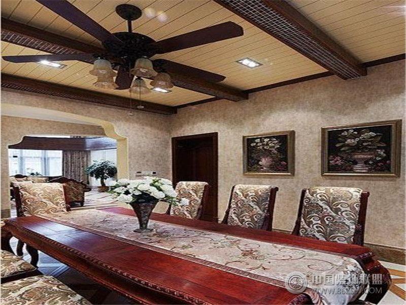 成都尚层装饰别墅装修美式风格案例效果图(一)-餐厅装修图片