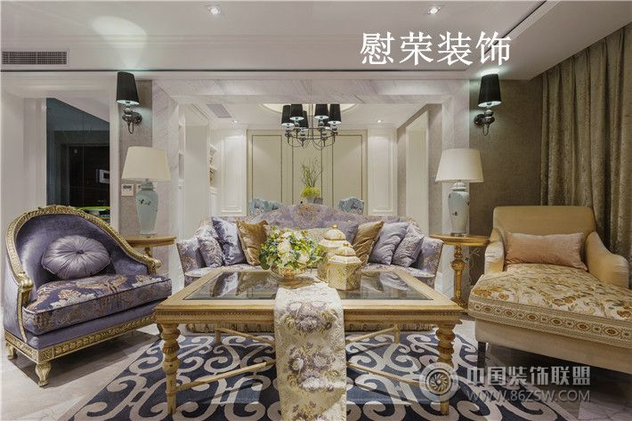 简约法式风格_现代三居室大户型装修效果图图片