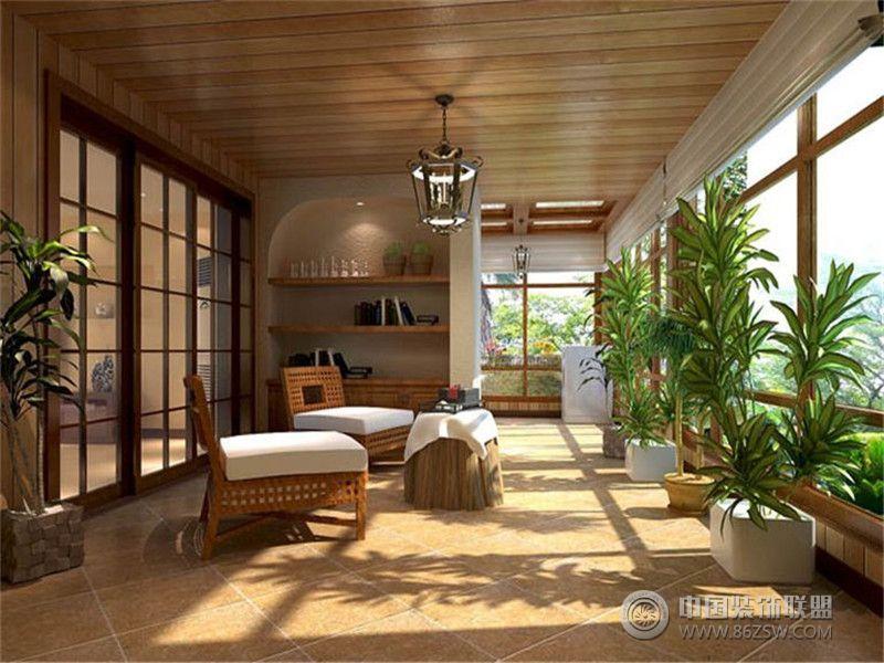 别墅装修美式风格案例效果图(六)美式阳台装修图片