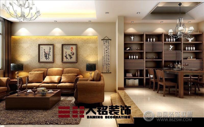 郑州复式楼装修新中式风格设计-客厅装修效果图-八六图片