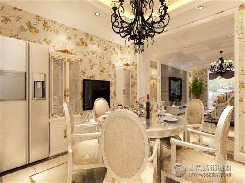 成都尚层装饰别墅装修欧美风格案例效果图(五)-餐厅装修图片