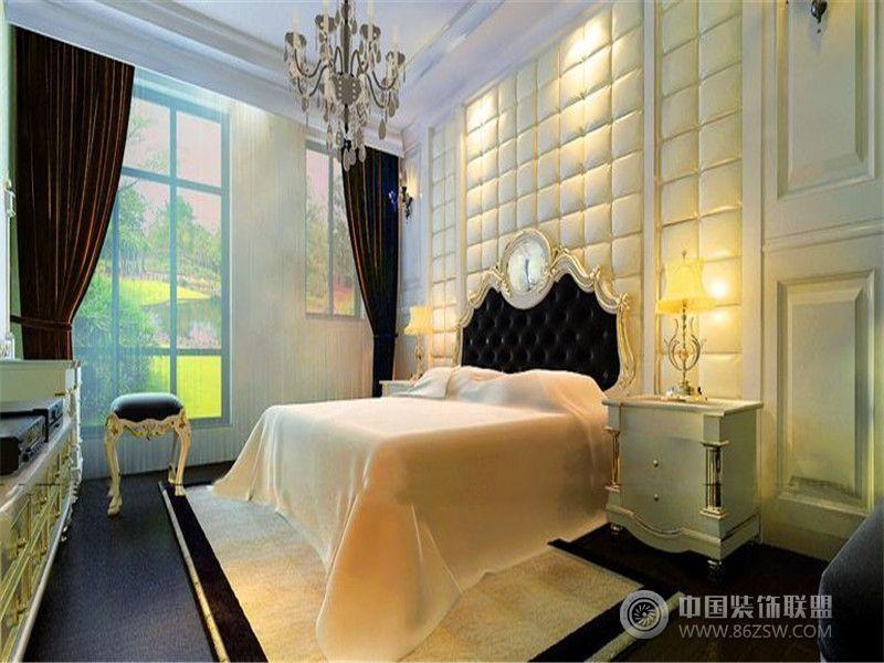 成都尚层装饰别墅装修欧美风格案例效果图(八)欧式卧室装修图片