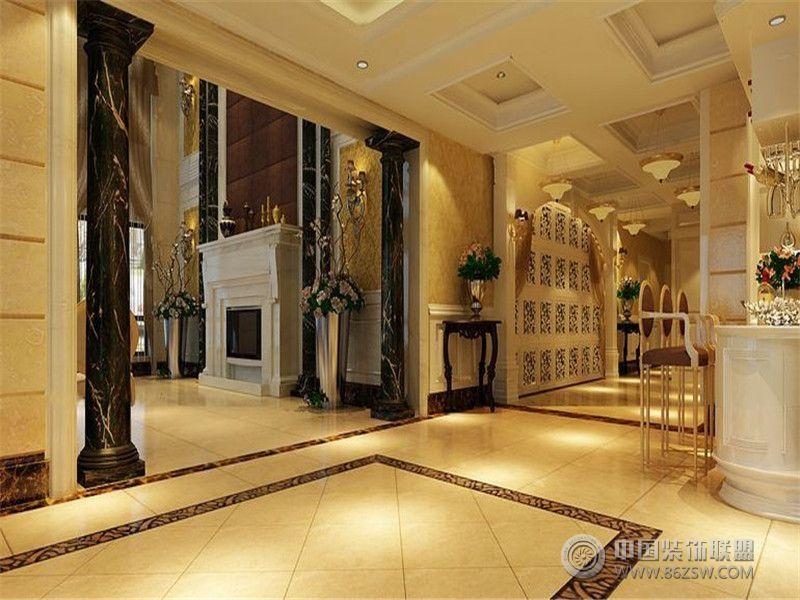 成都尚层装饰别墅装修欧美风格案例效果图(八)欧式客厅装修图片