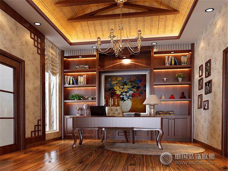 别墅装修欧美风格案例效果图(十六)欧式书房装修图片