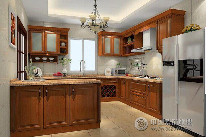 新中式厨房设计方案_中式大户型装修效果图