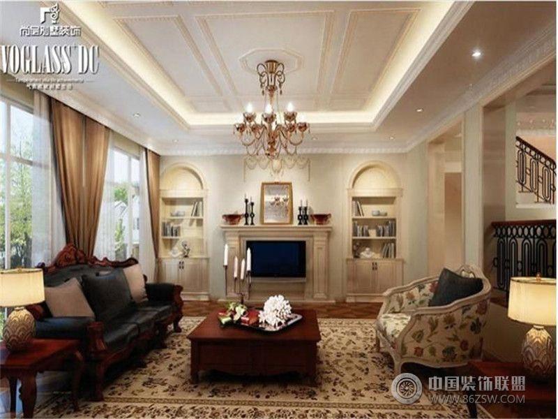 欧美 复式装修效果图   欧美风格别墅客厅装修效果图 尚品