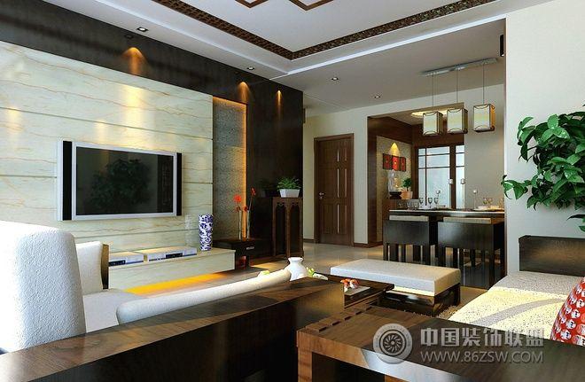 120平中式风情温馨公寓-客厅装修效果图-八六(中国)