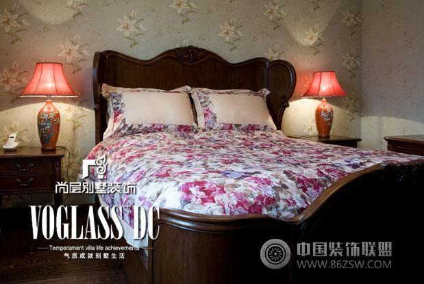 中式田园风格三居室卧室装修效果图 成都别墅装饰