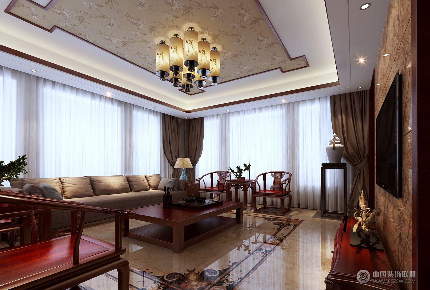 别墅案例中式客厅装修图片
