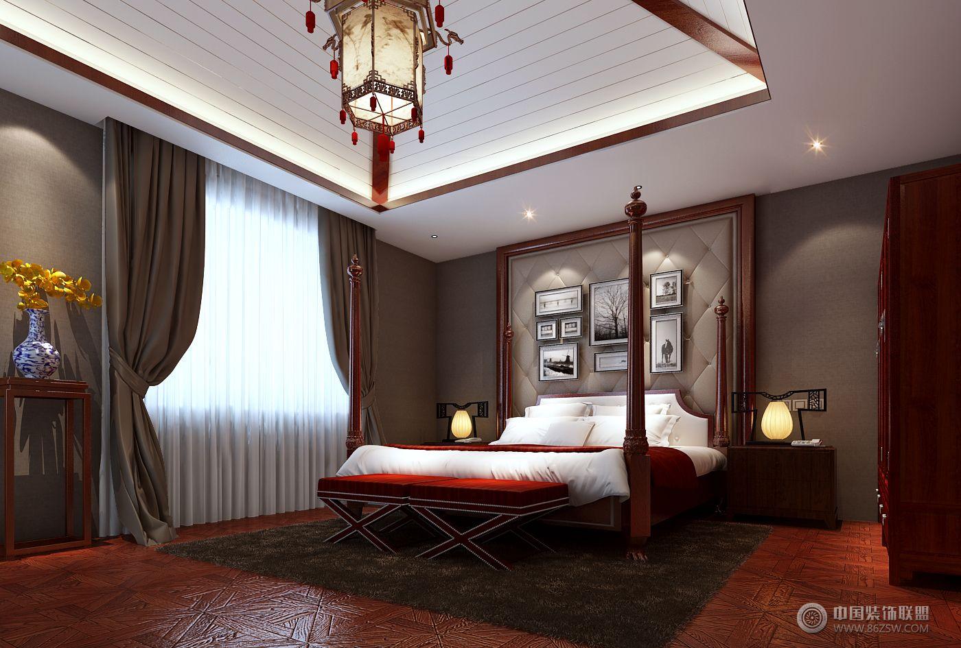 别墅案例中式卧室装修图片