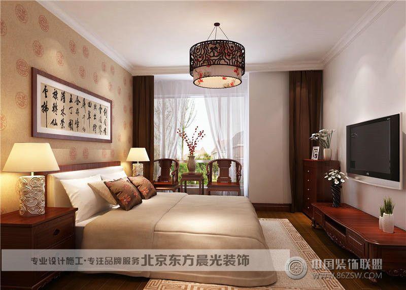 中式卧室装修_中式大户型装修效果图_八六(中国)装饰