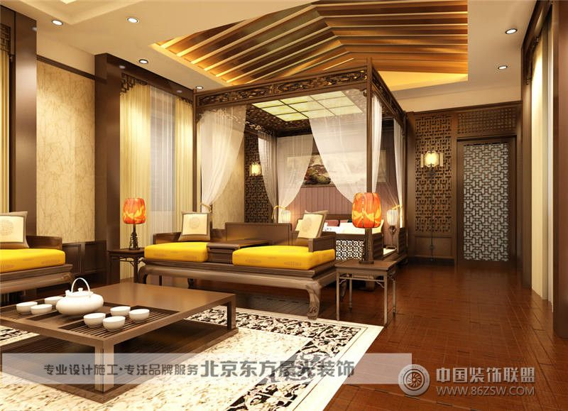 现代中式客厅装修-客厅装修效果图-八六(中国)装饰(.