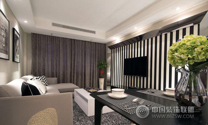 足球迷90平现代简约时尚居-客厅装修效果图-八六