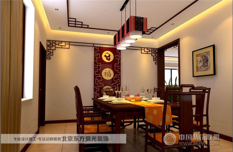 中式餐厅装修整套大图展示_中式大户型装修效果图_八