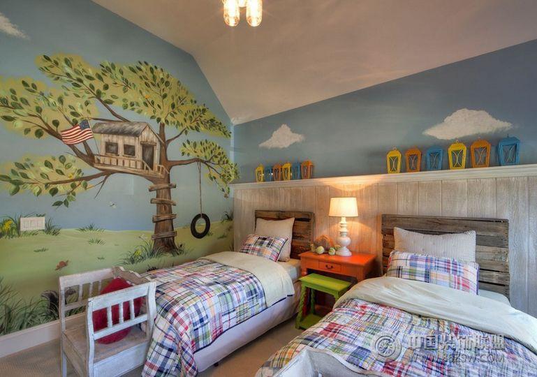 美丽的手绘儿童房装饰图-卧室装修图片