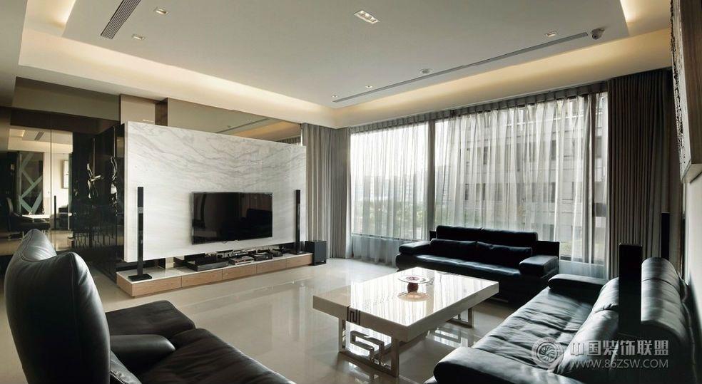 现代风格三室一厅装修效果图-客厅装修效果图-八六()