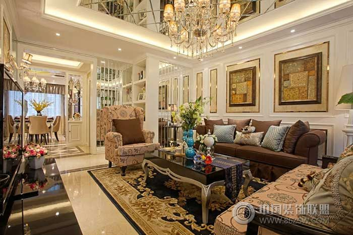 豪华欧式两厅家装图_欧式大户型装修效果图