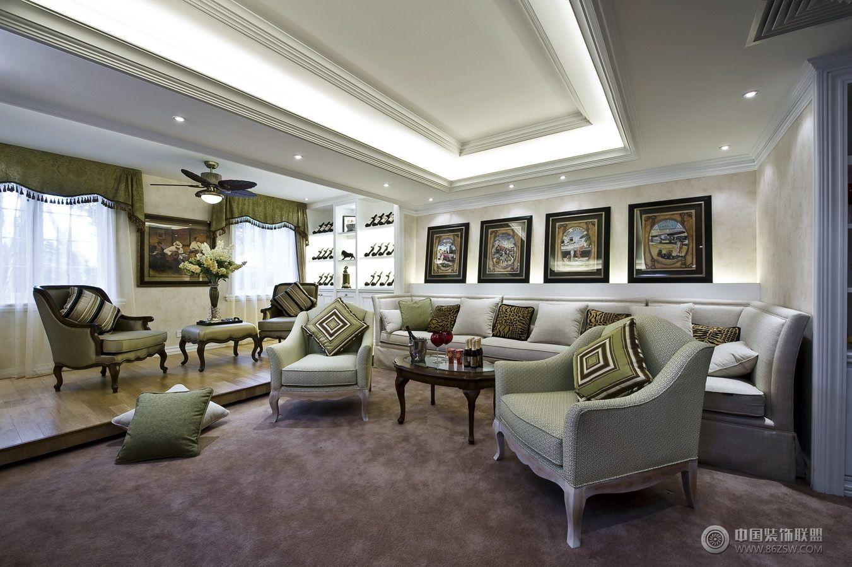 欧式风格复式楼房家装设计效果图欧式客厅装修图片;