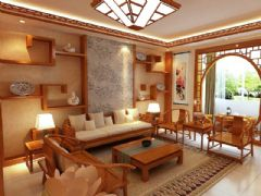 中式风格客厅隔断效果图