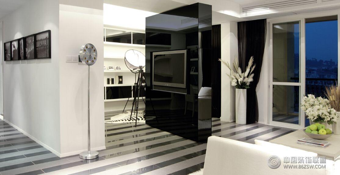 现代黑白风格两室两厅装修图客厅装修图片