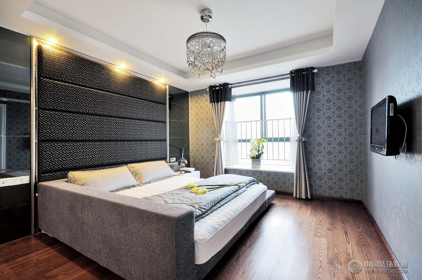 现代风格自建别墅-卧室装修图片