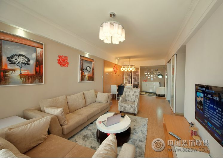 现代简约风格二居室装修图-客厅装修效果图-八六(中国