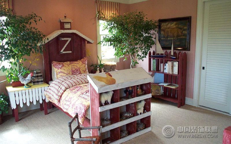 美式田园风格复式家装图 卧室装修图片