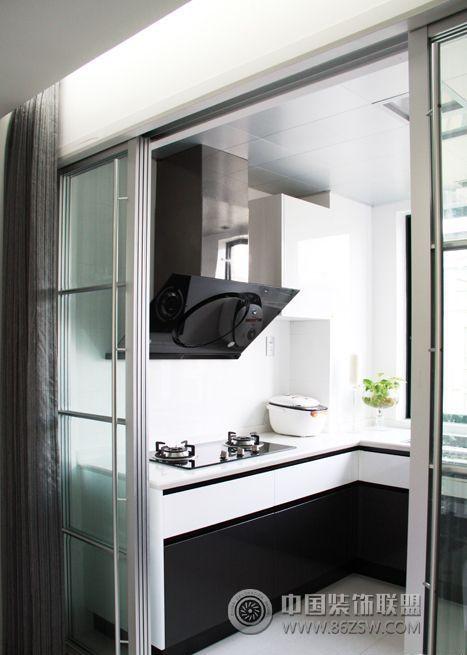 现代家居黑白风格二居室装修图-客厅装修效果图-八六