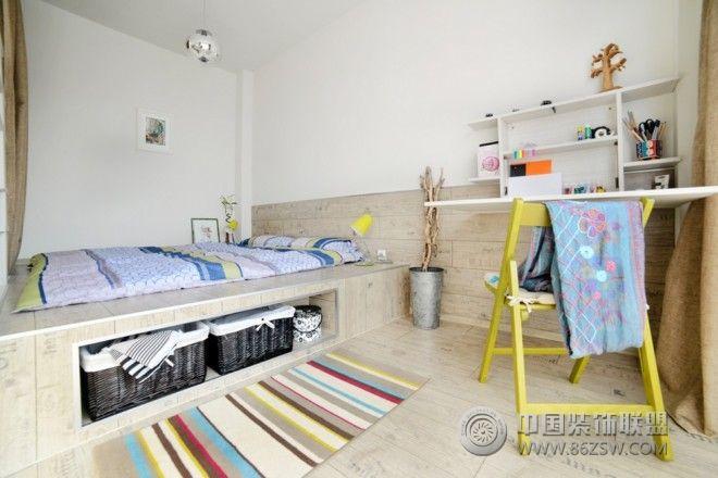 混搭风格40平米小公寓-书房装修效果图-八六(中国)(.