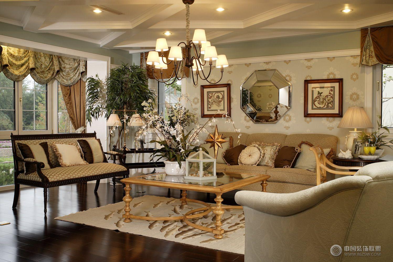 奢华美式别墅-客厅装修图片