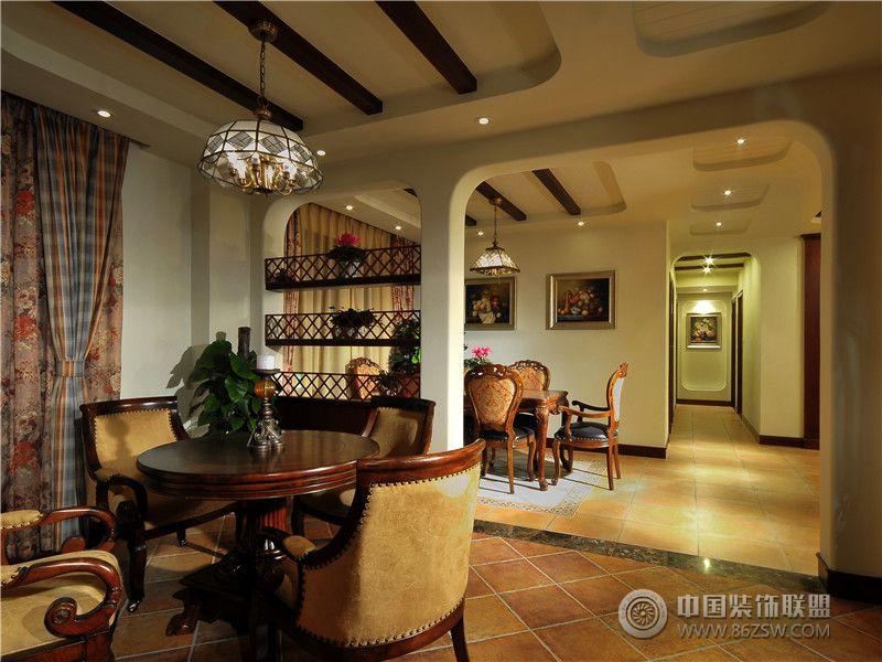 美式风格两室两厅装修图地中海餐厅装修图片