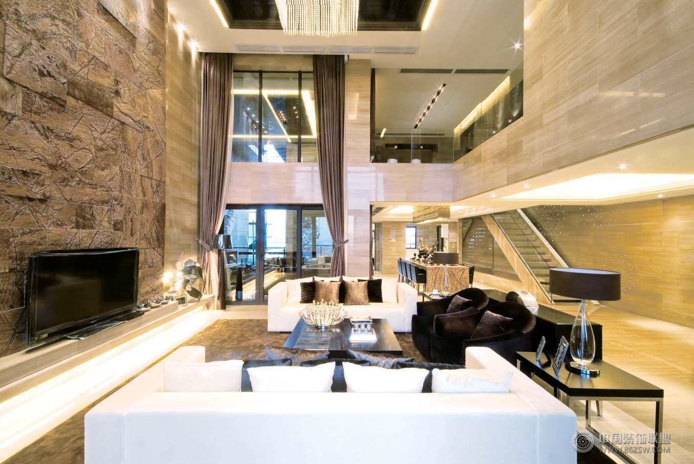 现代风格复式楼效果图-客厅装修图片